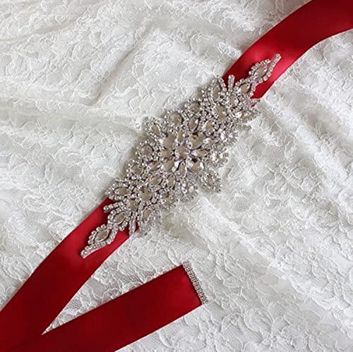 Mujeres Boda Fiesta Decoración Faja ancha Diamante de imitación Cinta de satén...