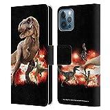 Head Case Designs Ufficiale Jurassic World T-Rex VS. Velociraptors Arte Chiave Cover in Pelle a Portafoglio Compatibile con Apple iPhone 12 / iPhone 12 PRO