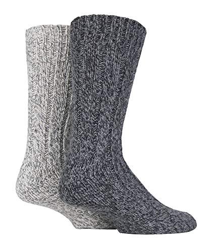 Sock Shop 2 Pares Hombre y Mujer Gris Invierno Gruesos Calcetines Lana para Botas (37/42,...