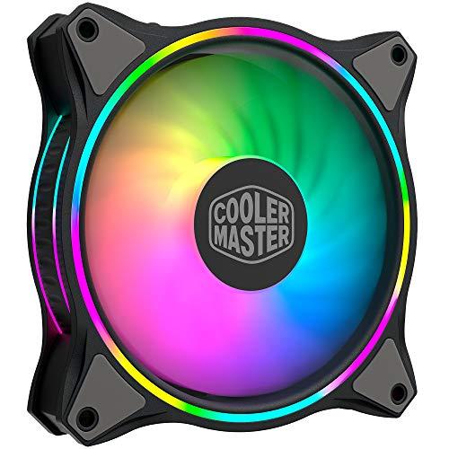 Cooler Master MasterFan MF120 Halo ARGB - 120-mm-Gehäuselüfter, adressierbare RGB-Beleuchtung mit zwei Schleifen, gebogenen Hybrid-Lüfterblättern, intelligenten Lüftersensoren - 120 mm