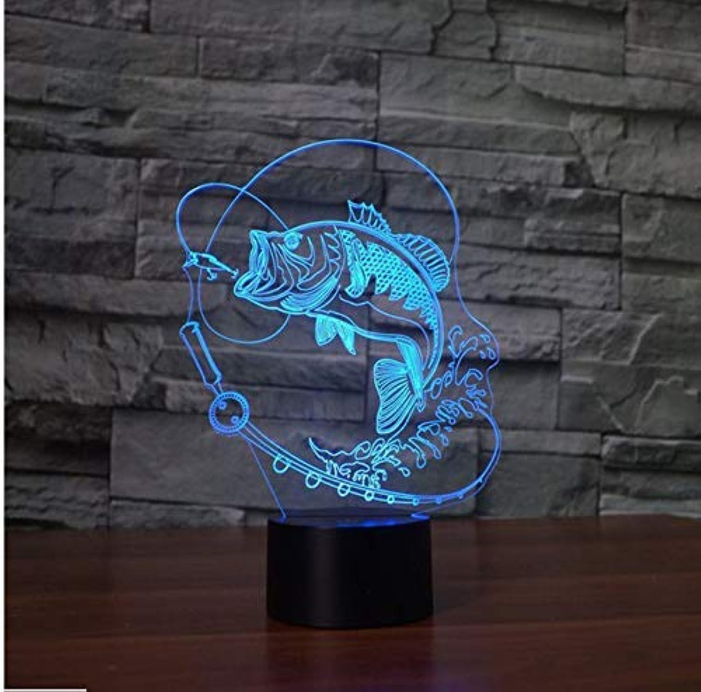 BMY Fis3D Night Lights Novelty Fishin3D Table Lamp USB 7 colors Sensor Touch Desk Lamp As