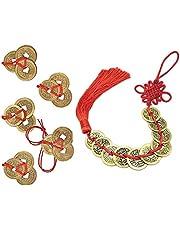 PPX 6 Unids Monedas Chinas de la Suerte Monedas Feng Shui Nudo Chino Monedas I-Ching de Recuerdo Monedas Tradicionales con Cadena Roja para la Riqueza y el Éxito Buena Suerte y Saludable