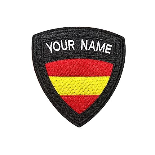 Parche de nombre militar táctico personalizado, etiqueta de nombre de bordado personalizado, parche de hierro de la bandera de España / gancho y lazo para varias bolsas de ropa, camisa de trabajo