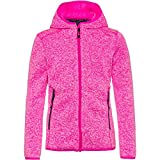 CMP Knit Tech mélange Fleece Jacket with Hood Chaqueta de Forro Polar, Purple Fluo-Blanco, 164 para Niñas