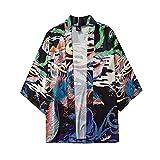 Men's Summer Kimono Japanese Casual Style Cloak Blouse Five Point Sleeves Top J Black