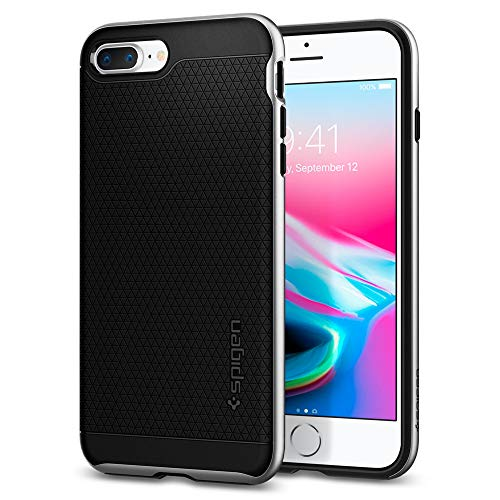 Spigen Funda iPhone 7 Plus/8 Plus, [Neo Hybrid 2] Protección Interna Flexible y Cuadro de Parachoques Duro Reforzado para iPhone 7 Plus/iPhone 8 Plus - Satin Silver