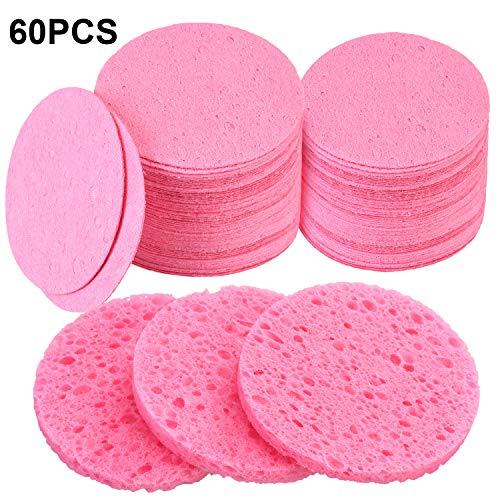 60 Zählung Gesicht Schwämme Komprimierter Gesicht Schwamm Natürlicher Reinigung Schwamm für Gesichtsreinigung, Peeling Maske, Makeup Entfernung (Rosa)