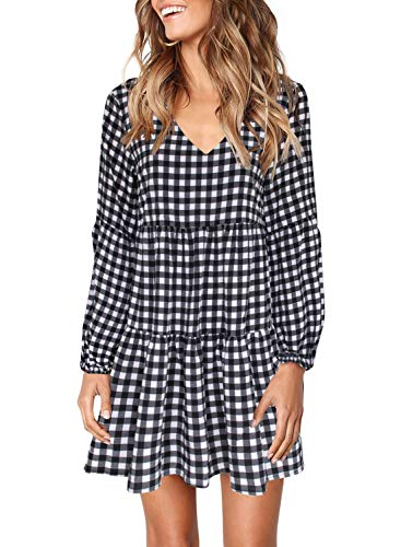 Women's V Neck Bishop Sleeves Soft Loose Tunic Dress Knee Length White Small Plaid L
