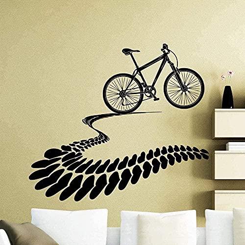 Etiqueta de la pared PVC extraíble calcomanía de pared bicicleta de montaña corazón neumático rastro familia 57x64cm