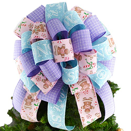 Candy Christmas Tree Bow - Pastel Christmas Tree Bow Topper - Gingerbread Man Present Bow - Pink Lavender Turquoise : TB34