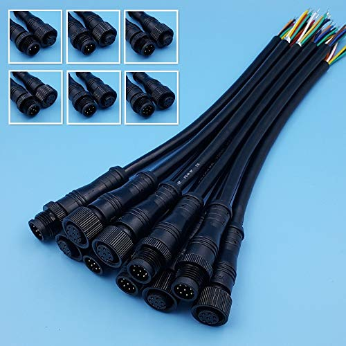 SPRINGHUA 5 Parques Negro Impermeable IP68 2/3/4/5/6/8 Pin 20CM Conector de Cable LED de LED de 20 cm (Pins : 5Pairs 3Pin 3x0.75mm)