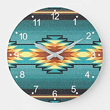 Enidgunter Southwest Tribal Geometric Diamond Turquois Silent Wall Clock for Women Christms Clock Gift for Living Room Kitche