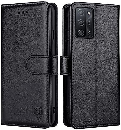 FMPCUON Hülle für Oppo A55 5G/A53S 5G/A53 5G Handyhülle [Standfunktion] [Kartenfach] [Magnetverschluss] Tasche Flip Hülle Schutzhülle lederhülle flip case für Oppo A55 5G/A53S 5G/A53 5G Schwarz