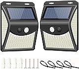 Lspcsw - Lámpara solar para exteriores, con 222 ledes, con detector de movimiento, impermeable, lámpara solar para exterior, luz solar para jardín, 270°, iluminación en cuatro lados, 2200 mAh