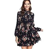 DIDK Damen Kleid Elegant Langarm Blumen Kleider Kurz Knielang Partykleid Casual für Herbst Frühling, Blumen1, M