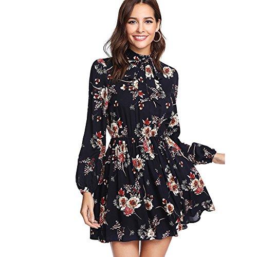 DIDK Damen Kleid Elegant Langarm Blumen Kleider Kurz Knielang Partykleid Casual für Herbst Frühling, Blumen1, S