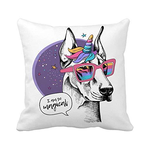 GWrix bank gooien kussenhoes, slaapkamer decoratie, kussenhoes, hond Doberman in een heldere gekleurde eenhoorn pruik met hoorn en in een regenboog bril 45 x 45 cm, rits kussensloop, vierkante kussensloop