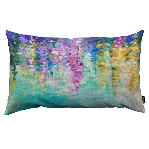 HOSNYE Spring Flowers Throw Pillow Cover Hand Oil Painted Violet Yellow and Red Leaves Linen Fabric for Couch Bed Sofa Car Waist Cushion Cover 12 x 20 inch Pillow Case