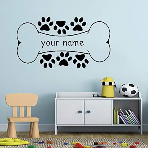 Calcomanía de pared de hueso de perro Nombre personalizado personalizado Mascota Pata Vinilo Etiqueta de la ventana Dormitorio de los niños Tienda Interior Decoración Arte decoración del hogar71x40cm