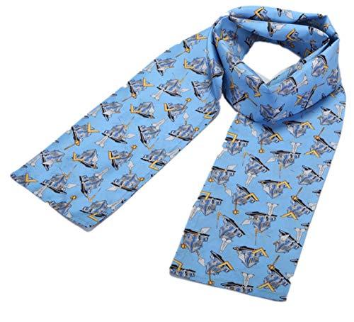 prettystern Herren Damen 2-lagig schmal SeidenSchal Krawatten-Schal Business hell-blau DS4