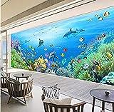 Papel pintado Mural no tejido XXL Murales de acuario de pared Sala de estar Dormitorio Hotel Dolphin 3D Fotomurales papel pintado pared dormitorio