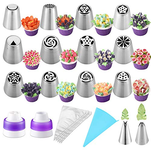 27pcs Russian Piping Tips Icing Piping Nozzles Tool Piping Ball Cake Decorating Supplies kit for Cake, Cupcake Biscuit,Cookies Dessert Pastry