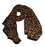 KGM Accessories - Scialle di lusso con stampa leopardo, taglia grande, super morbida, colore: Nero