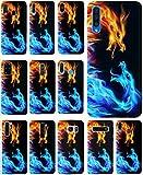 KX-Mobile Hülle für Samsung A10 Handyhülle Motiv 198 Drachen Feuer Schwarz Blau Rot Gelb Premium Silikonhülle SchutzHülle Softcase HandyCover Handyhülle für Samsung Galaxy A10 Hülle