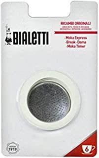 Bialetti Moka Express 6 Cup Replacement Filter and 3 Gaskets , White