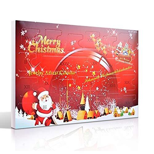 MJARTORIA Weihnachtskalender Schmuck Adventskalender für Damen Mädchen Kinder 2019 mit 24 Überraschungen Xmas Choker Kette Weinglas Marker Brosche Click Button Charms (Red-#1)