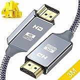 HDMIケーブル 3m ハイスピード HDMI CABLE 最新 HDMI規格 Ver2.0 HDMI-HDMI ケーブル1080p 3D 4K スーパースリム グレー