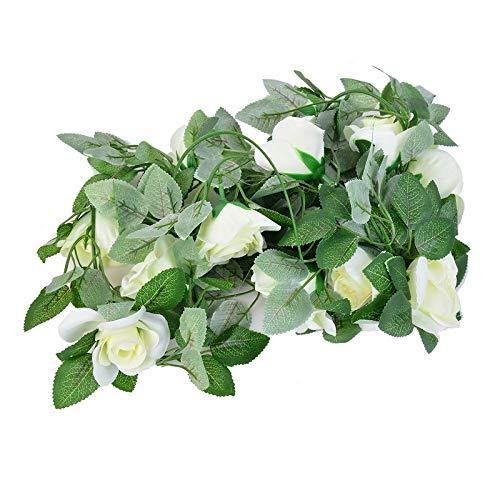 Muzi Artificial Flower Bouquets Plastic Flower Vine Decoration Green Leaf Vine Rose Flower Rattan -16 Head 2.25m(White)
