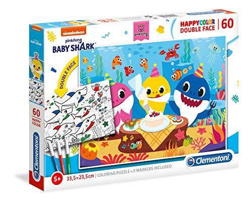 Clementoni - 26095 - Supercolor Puzzle - Baby Shark - Double Face Coloring - 60 pezzi - Made in Italy - puzzle bambini da colorare, 5 anni+