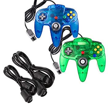 miadore 2 Pack Classic N64 Controllers  Jungle Green/Blue  Bundle with 2 Pack 6FT N64 Controller Extension Cable