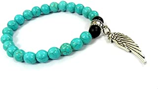 REBUY® Black Tourmaline & Firoza/Turquoise Stone 8 mm Beads Charm Bracelet with Feather Hand for Men and Women