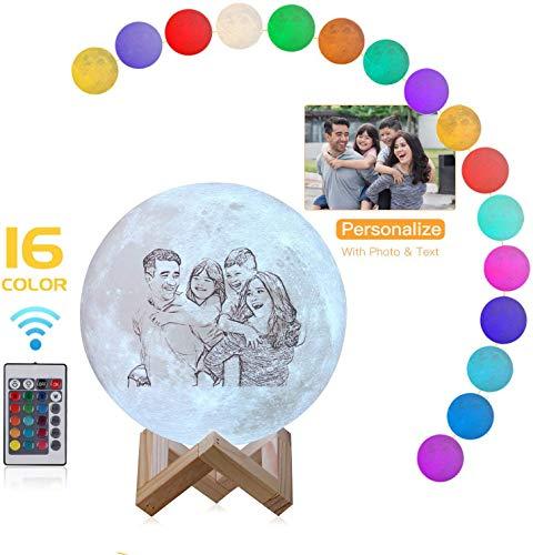 7.9 '' Foto personalizada Luna Lámpara 3D Nombre personalizado Control remoto Luz de noche para niños Madre Día del padre Pareja Regalo de Navidad (16 colores 20 cm)