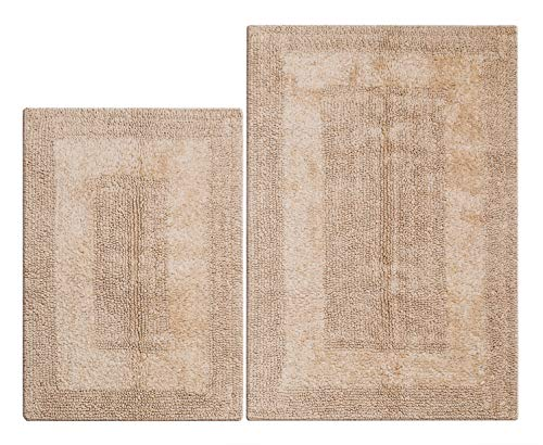 Reversible Bath Rugs Set 2 Piece in 100% Cotton 21x34/17x24 -Linen Beige, Bathroom Bath Rugs Set, Cotton Bath Mat,Cotton Bath Rugs, Soft Absorbent Machine Washable Rugs, Bathroom Entryway Rugs,