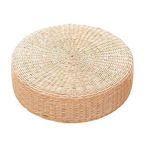 Rylod Coussin de siège plat en paille de 30 cm - Style japonais épais en rotin tissé - Coussin rond futon pour tapis de yoga, pouf ou tatami