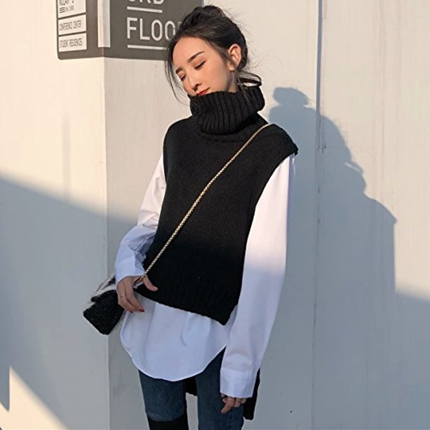 GAOLIM Autumn and Winter LooseNecked HighHeddress Shirt Splicing Short Before and After The Holiday Two Sweaters Shirt Women