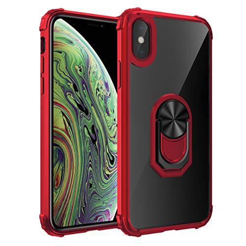 Funda compatible con iPhone XS Max, funda de teléfono móvil de acrílico duro PC TPU suave silicona antideslizante 360 ° anillo clip anti-arañazos funda compatible con soporte de coche rojo Talla única