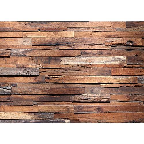 Fototapete Wand Foto Tapete Bild Vliestapete selbstklebende Textiltapete - Holzwand Wand Mauer - no. 174 Holzwand Steinoptik Holz Wand Mauer Holztapete, Größe:350x245cm Vlies