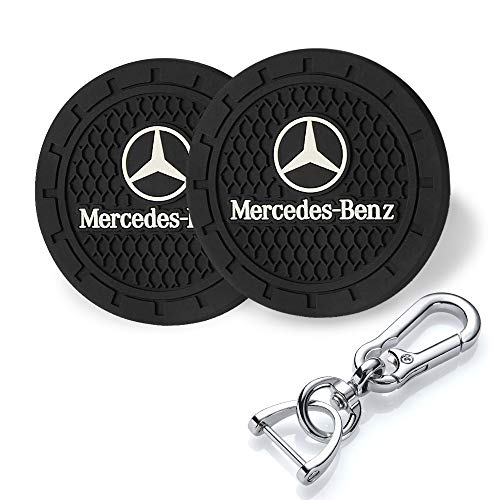 YANGYI 2.75 Inch Car Interior Accessories for Mercedes Benz Cup Holder Insert Coaster - Silicone Anti Slip Cup Mat for Benz A-Class C-Class E-Class CLA CLS AMG GLC GLE GLS(2 Pack)