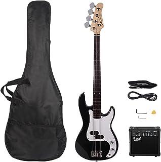 GLARRY اندازه کامل گیتار باس الکتریک مبتدی کیت 4 تار باس باس بی نظیر با 20W AMP ، کابل ، بند ، کیف و لوازم جانبی (مشکی)