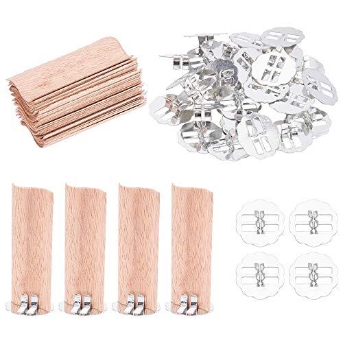 PandaHall Paquete de 30 mechas de cera de madera con base de metal, 7.8 x 3.5 cm, mechas de vela de madera con soportes de base de metal, para hacer velas de cera de soja hecha a mano