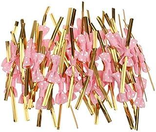 lsv-8 50 Rose Schleife Geschenk Verpackung Metallic Twist Krawatten für Party Bakery Cookie Candy Staubbeutel Pink