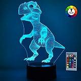 SOKY Geschenke für Jungen ab 3-10, 3D Dinosaurier Nachtlicht Dino Spielzeug für Kinder 2-10 Jahre...