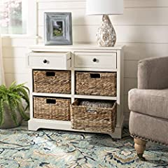 The distressed cream finish of this storage unit is sure to update any decor This storage unit features four wicker baskets drawers, each Drawer measuring 13 inches wide by 10.4 inches deep by 4.7 inches tall Crafted of solid pine wood Perfect for a ...