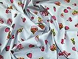 Cupcakes & Kirschen Print Baumwolle Popeline Stoff Kleid