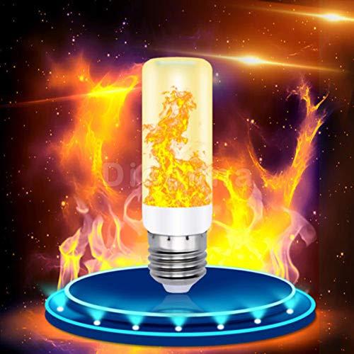 LED Flamme Glühbirne,E27 Base Flackernde Flamme Glühbirne dekorative Atmosphäre Lampen,Bewegliche Flackernder Feuereffekt Led Flamme Lampe 7W Mit 4 Modi Feuer Effekt Birne (Gelb, 4 Mode)
