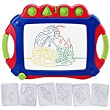 WISHTIME Magnetic Drawing Board for Kids - Large Doodle Board 17.3 Inch Erasable Magnet Writing Sketching Pad 4-Color Travel Size with Stamps and Stencils for Kids Toddlers(Red-Blue)